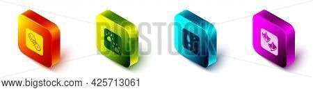 Set Isometric Human Footprints Shoes, Paw, And Seagull Paw Icon. Vector