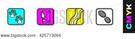 Set Paw Print, Human Footprints Shoes, Snake Paw And Icon. Vector