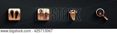 Set Rabbit And Hare Paw Footprint, Human Footprints Shoes, Bear And Paw Search Icon With Long Shadow