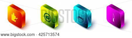 Set Isometric Cutting Board And Knife, Scrambled Eggs, Kitchen Extractor Fan And Knife Icon. Vector