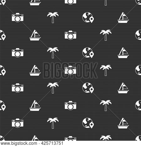 Set Location On The Globe, Yacht Sailboat, Photo Camera And Tropical Palm Tree On Seamless Pattern.
