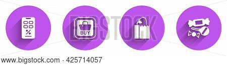 Set Percent Discount And Mobile, Buy Button, Paper Bag With Bread Loaf And Candy Icon With Long Shad