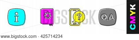 Set Information, User Manual, Telephone 24 Hours Support And Question And Answer Icon. Vector