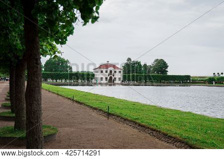 St. Petersburg, Russia. Marly Palace In The Lower Park Of Peterhof In St. Petersburg, Russia