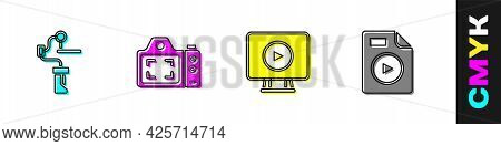 Set Gimbal Stabilizer For Camera, Photo, Online Play Video And Avi File Document Icon. Vector