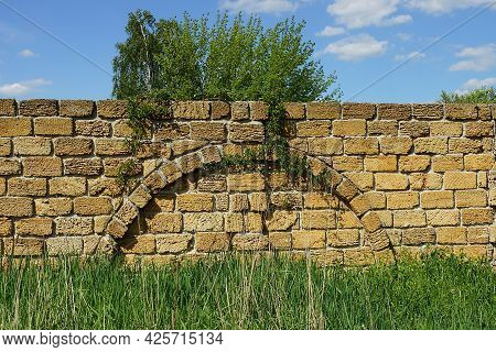 Old Brown Brick Wall Of The Fence Overgrown With Green Grass And Vegetation On The Street Against Th