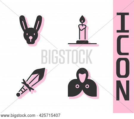 Set Mantle, Cloak, Cape, Rabbit With Ears, Medieval Sword And Burning Candle In Candlestick Icon. Ve
