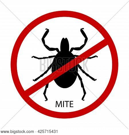 Mite Parasites Silhouette . Vector Illustration Isolated On White Background. Mite Spider. Mite Alle