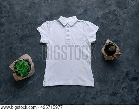 White Blank Polo T-shirt Mockup On Dark Background. Blank Cotton Plain Shirt Collar Pocket Template