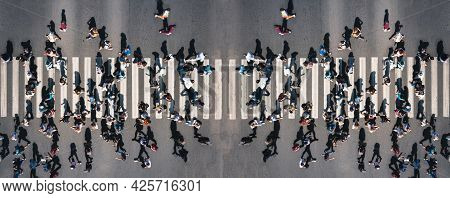 Different People At A Pedestrian Crossing In The City - Panorama Shot. People At A Zebra Pedestrian