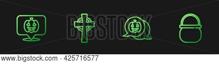 Set Line Pumpkin, , Tombstone With Cross And Halloween Witch Cauldron. Gradient Color Icons. Vector