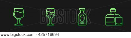 Set Line Alcohol Drink Rum, Wine Glass, Glass Of Champagne And Whiskey Bottle And. Gradient Color Ic