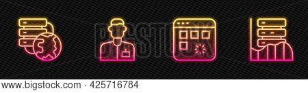 Set Line Loading Data Window, Network Cloud Connection, Analyst Engineer And Server, Data, Web Hosti