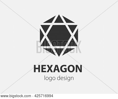 Trend Logo Vector Hexagon Tech Design. Technology Logotype For Smart System, Network Application, Cr