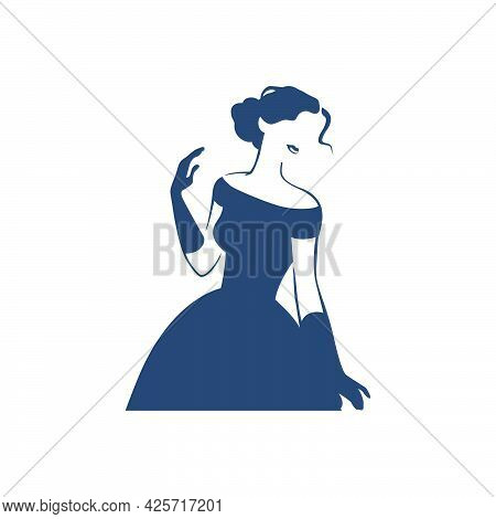 Beautiful Young Lady Portrait Isolated. Awesome Model In Stylish Dress Black Hand Drawn Silhouette.
