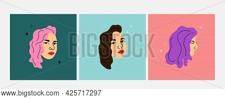 Woman Face. Female Heads Different Angles View, Various Hair Colors Pink Purple And Brunette, Social