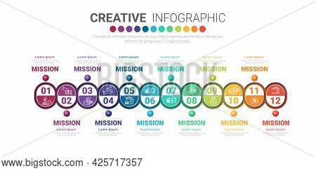 Presentation Infographics Template For 12 Months, Can Be Used For Business Concept With 12 Options,