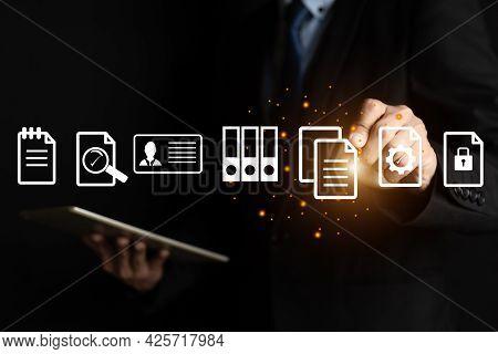 Businessman Hand Touch Document Management Data System ,document Management Concept ,