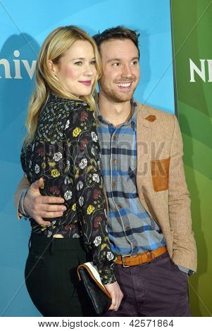 PASADENA, CA - JAN. 7: Kristen Hager and Sam Huntington arrives at the NBCUniversal 2013 Winter Press Tour at Langham Huntington Hotel & Spa on January 7, 2013 in Pasadena, California