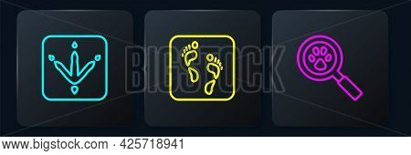 Set Line Chicken Paw Footprint, Paw Search And Human. Black Square Button. Vector