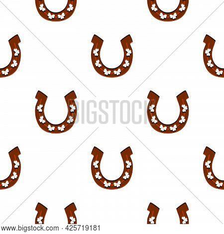 Illustration On Theme Irish Holiday St Patrick Day, Seamless Horseshoes