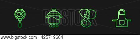 Set Line Broken Egg, Fried Eggs On Frying Pan, Cooking Pot And Kitchen Apron. Gradient Color Icons.