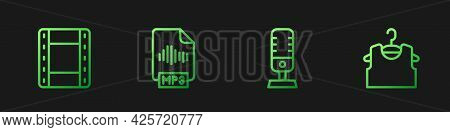 Set Line Microphone, Play Video, Mp3 File Document And Sleeveless T-shirt. Gradient Color Icons. Vec