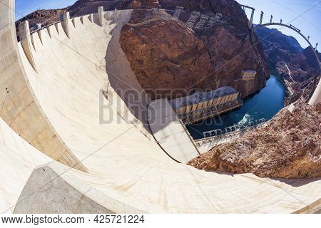 The Hoover Dam Along The Colorado River, Between Arizona And Nevada And Construction Of The Mike O'c