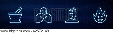 Set Line Zombie Hand, Mortar Pestle, Mantle, Cloak, Cape And Fire Flame. Glowing Neon Icon On Brick