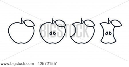Apple Icon. Vector. Half, Bitten, Whole And Apple Core In Line Art Design. Outline Signs Isolated On
