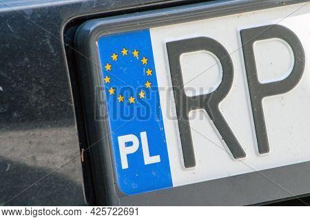 Close-up Of Polish Registration License Car Plate. Poland Car Plates.