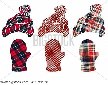 Women's Hats And Mittens In A Cage. Can Be Used As Stickers, Decorative Element, Magnets, Cut Out An