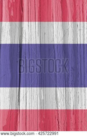The Flag Of Thailand On Dry Wooden Surface, Cracked With Age. Vertical Background, Wallpaper Or Back