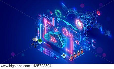 Communication Satellite Transmit Signal Of Global Satellite Internet. Computer Digital Connection At