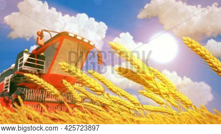 Harvester On Rye Or Wheat Field On Sunny Day - Fictitious Digital Industrial 3d Illustration