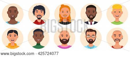 Set Of Smiling Men Avatars. Men Of Various Unusual Appearances. Isolated Portraits On A Round Backgr