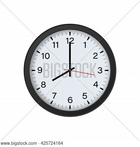 Round Black Clock Mockup Showing 8 O'clock Isolated On White Background. Vector Illustration