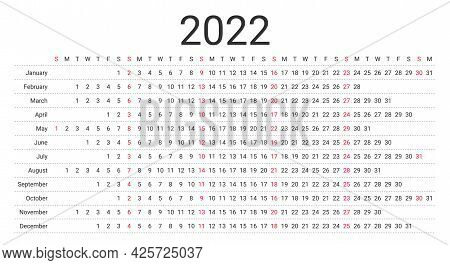 2022 Linear Calendar. Planner Template For Year. Yearly Calender Layout With 12 Months. Vector. Annu