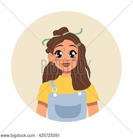 Cute Girl Vector Design.children Cartoon Character. Flat Style.