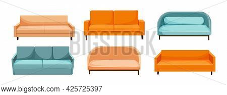 Set Of Sofa In A Trendy Style On A White Background. The Concept Of Upholstered Furniture. Home Furn