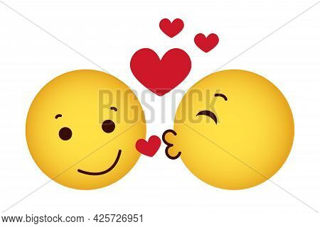 A  Face For A Kiss. A Love Pair Of Yellow Emoticons With Red Hearts. White Background. Vector Illust