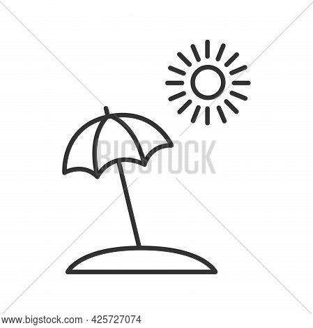 Beach Umbrella And Sun Line Icon, Summer Concept, Umbrella Sign On A White Background, Sun Umbrella