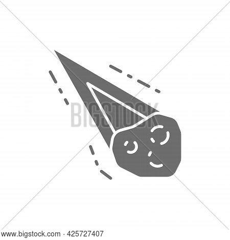 Vector Meteorite, Comet, Asteroid, Meteor Gray Icon.
