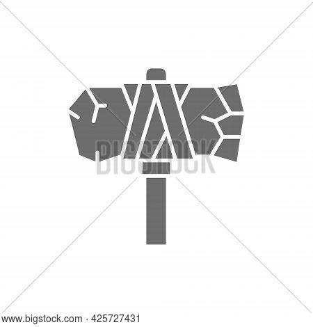 Vector Primitive Axe, Prehistoric Ax Gray Icon.