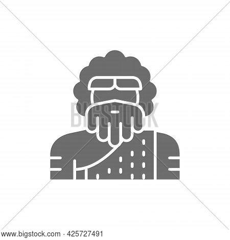 Primitive Man, Homo Sapiens, Neanderthal, Pithecanthropus Gray Icon.