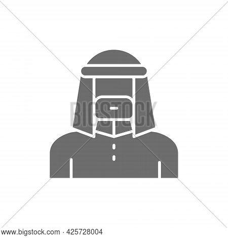 Arabian Man In Traditional National Dress, Bedouin Gray Icon.