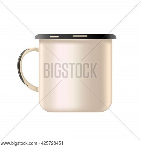 Metal Enamel Mug. Mock Up, Template, Blank. Old Style. To Place The Logo. Isolated White Background.