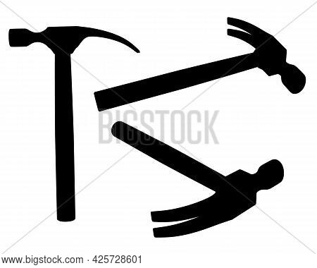 Set With Silhouettes Of A Hammer In Different Positions Isolated On A White Background. Vector Illus