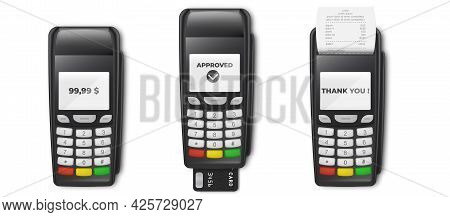Bank Payment Terminal Pos Terminal With Receipt And Credit Card Isolated On White Background. Mockup
