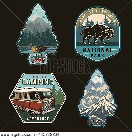 Summer Recreation Colorful Vintage Badges With Motorhome Bison Wild Duck Swimming In Lake And Mounta